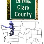 The Clark County Highway Sign and Map of Washington Showing Clark County