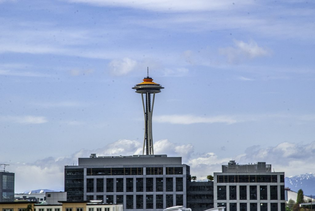 The Space Needle Rising above lower buildings downtown.