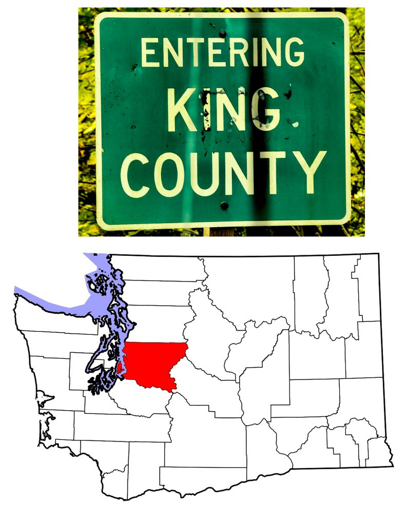 Entering King County highway sign with Washington State Map showing location of King County.