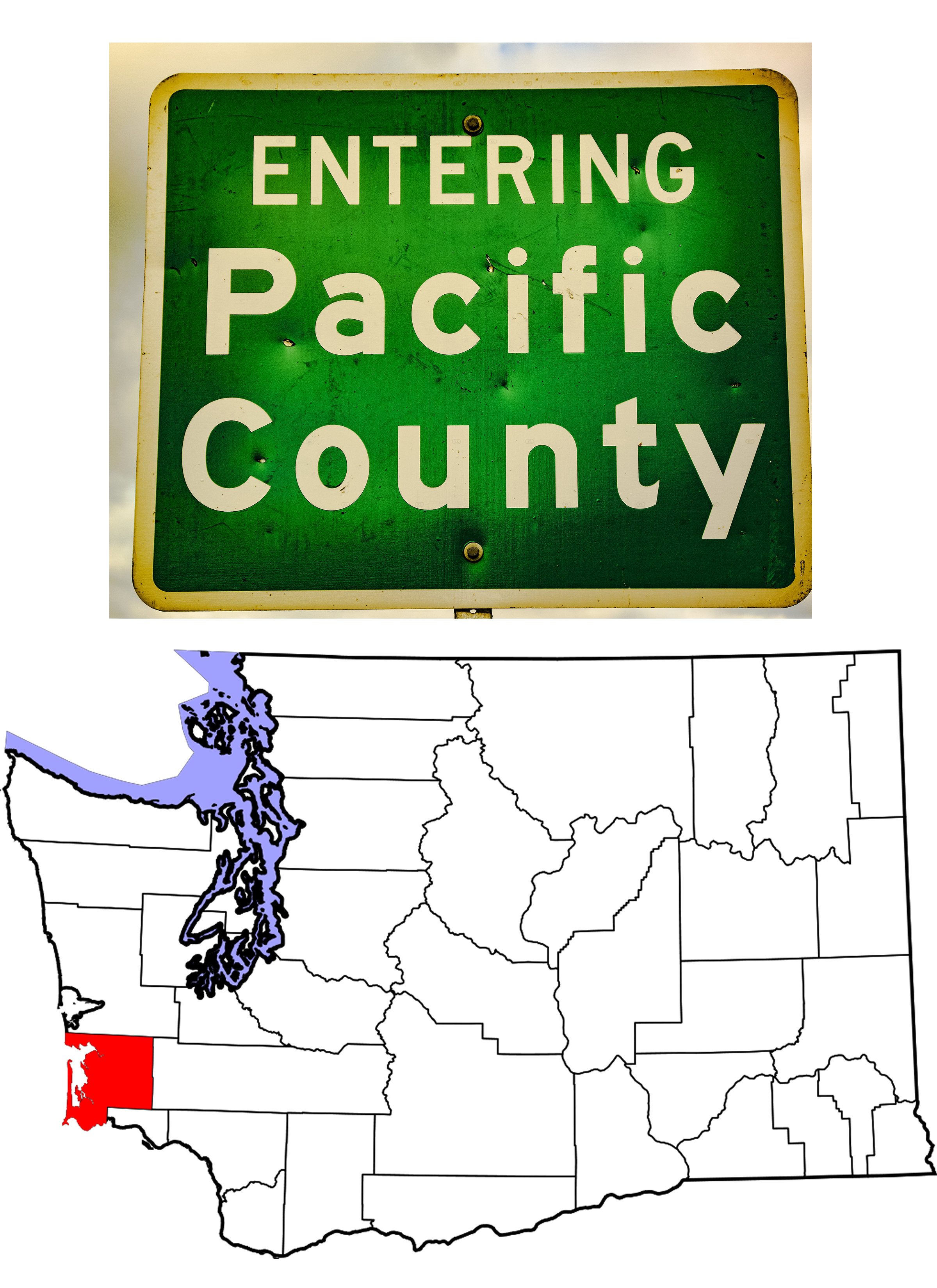 Highay Sign and Map Showing Pacific County