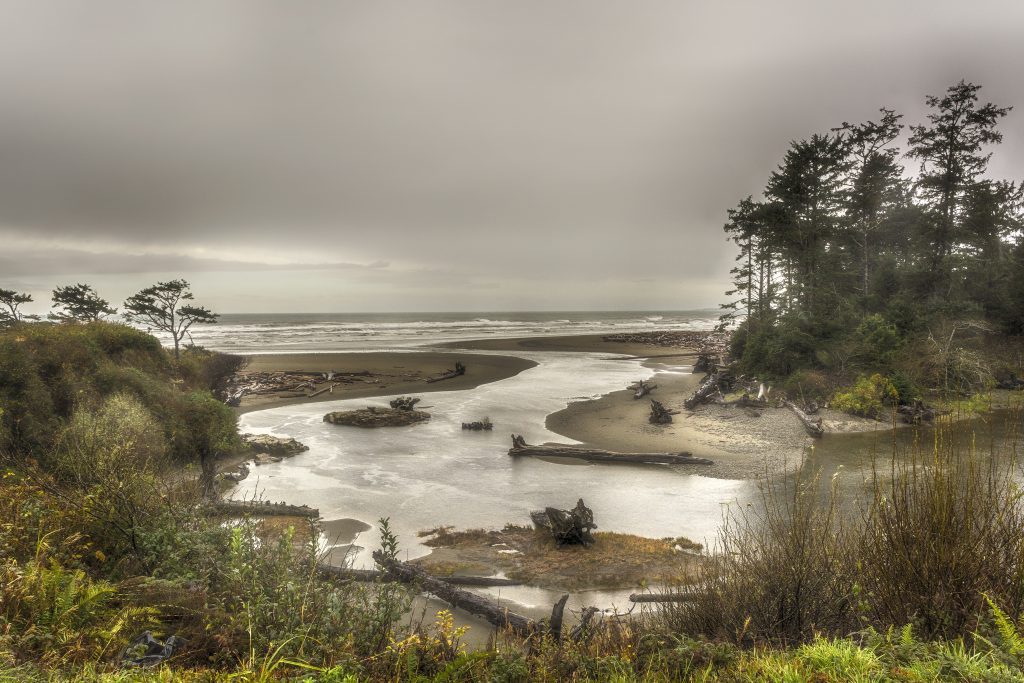 Kalaloch Creek emptying into the Pacific Ocean at the Kalaloch Resort, western Jefferson County.