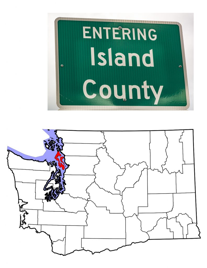 Island County sign and map of Washington State showing Island County in red.
