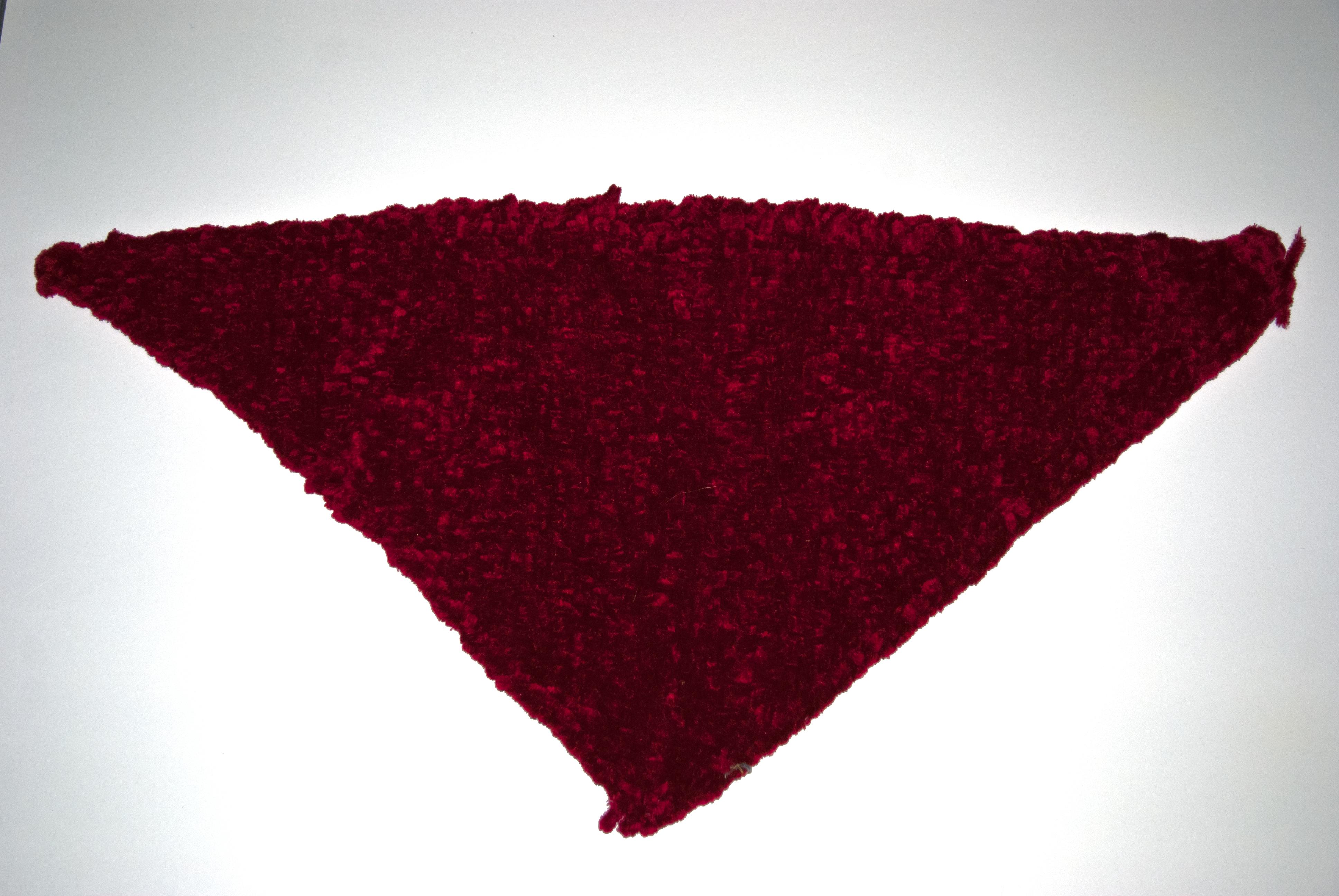 Dark red piece woven on a triangular loom