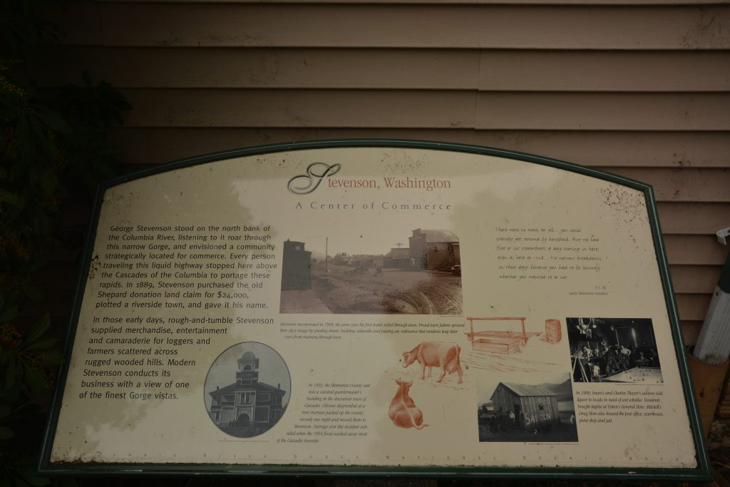 The historic marker in the center of downtown Stevenson, the Skamania County seat.