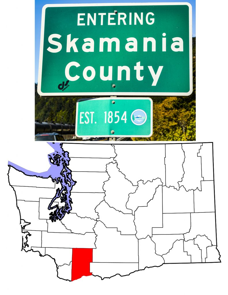 Entering Skamania County sign and Washington State map showing the location of Skamania County in red.