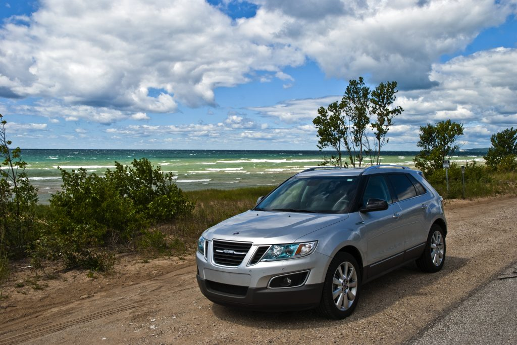 Saab 9-4x on the shore of Lake Michigan