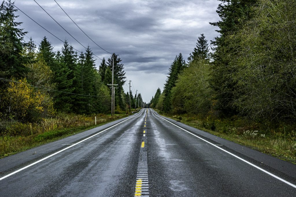 A view of U.S. Highway 101 near Humptulips, Grays Harbor County, Washington, the Pacific Coast Scenic Highway.