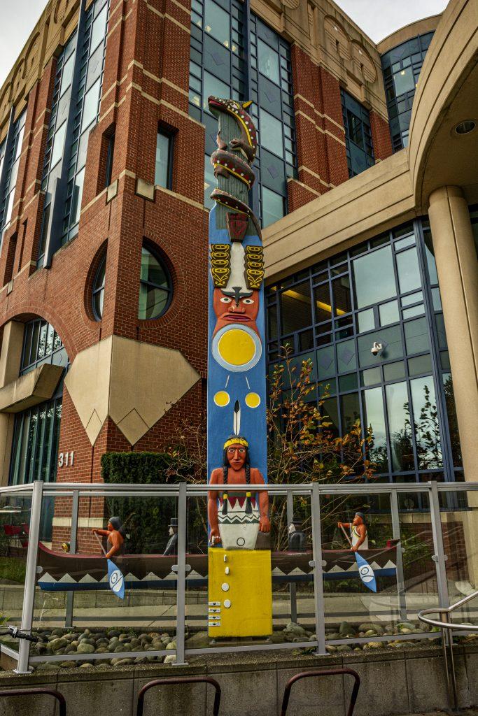 Stylized totem pole outside the Whatcom County Courthouse.