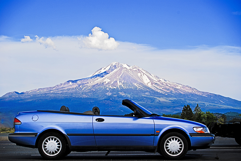 My 1996 Saab 900 Convertible parked in front of Mount Shasta. Link takes you to my RedBubble sales gallery.