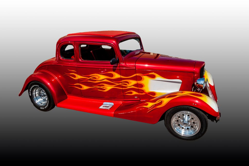 A radically painted 1933 Chevy 5 window coupe