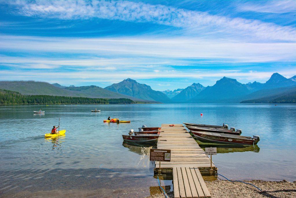 The Apgar Village Dock on Lake McDonald in Glacier National Park, Montana.