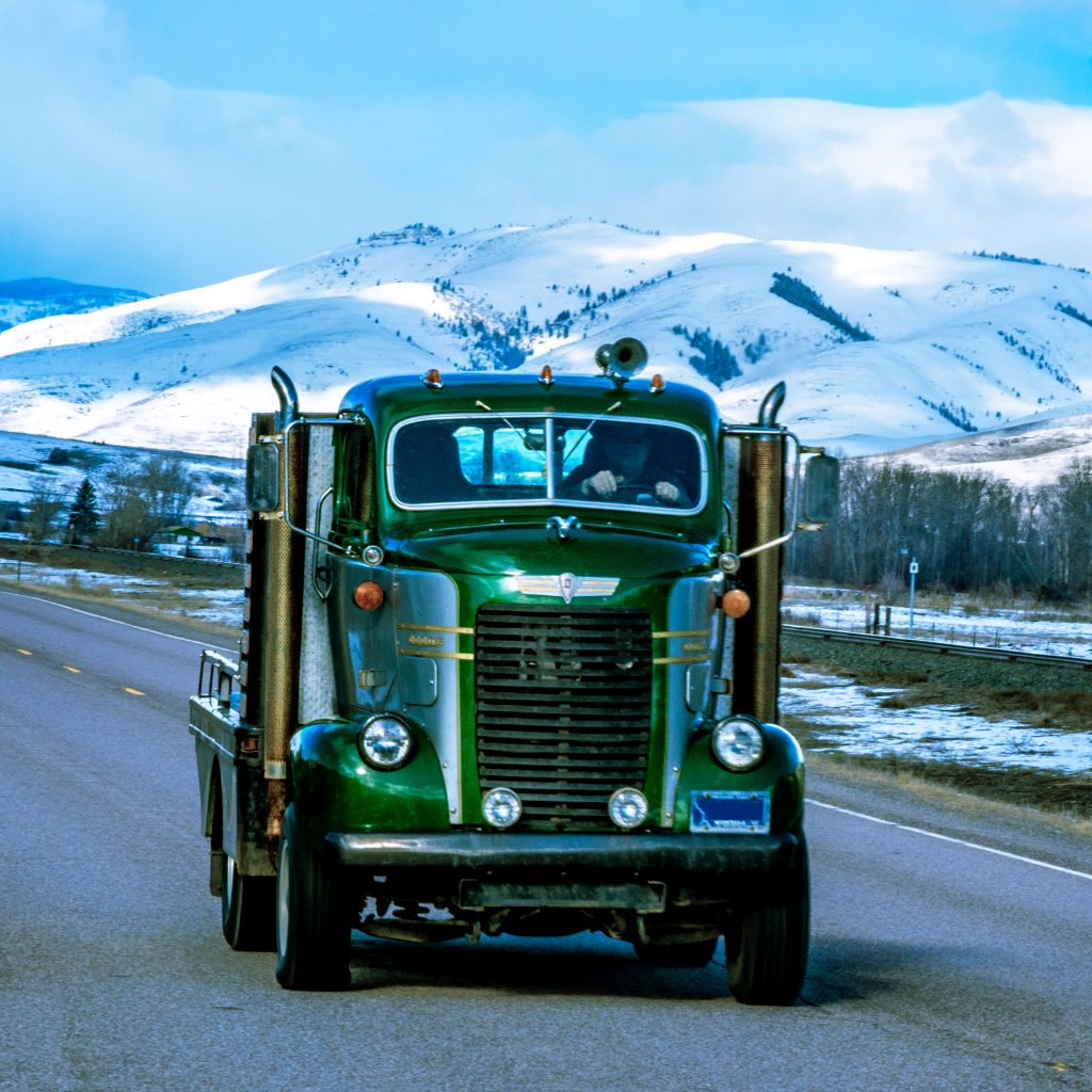 A mid 1940s Dodge COE truck on Highway 200