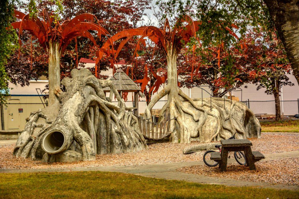 Children's Playground in Raymond's Fifth Street Park, seen driving around Pacific County, Washington
