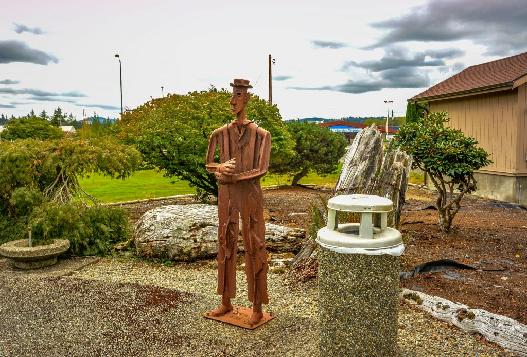 A metal statue in Raymond, seen while driving around Pacific County, Washington