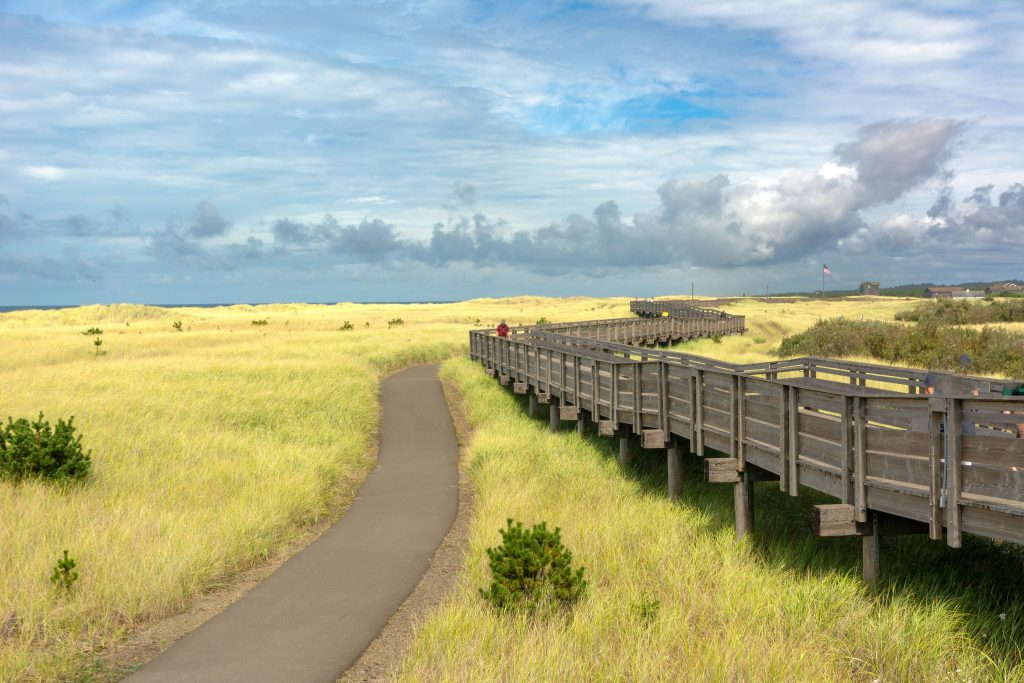 The Boardwalk and Bike Path at Long Beach, seen while driving around Pacific County, Washington