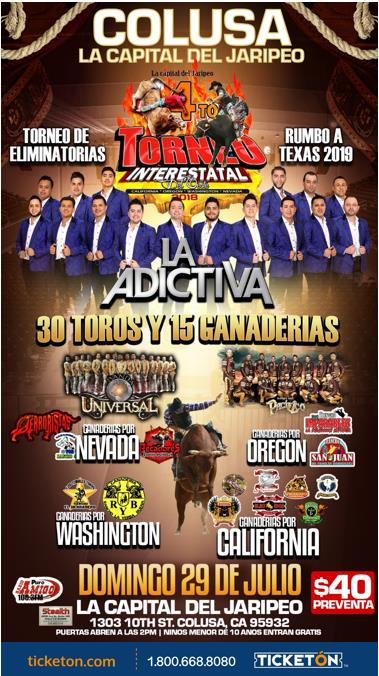 A poster designed to sell tickets at a Colusa, California Jaripeo