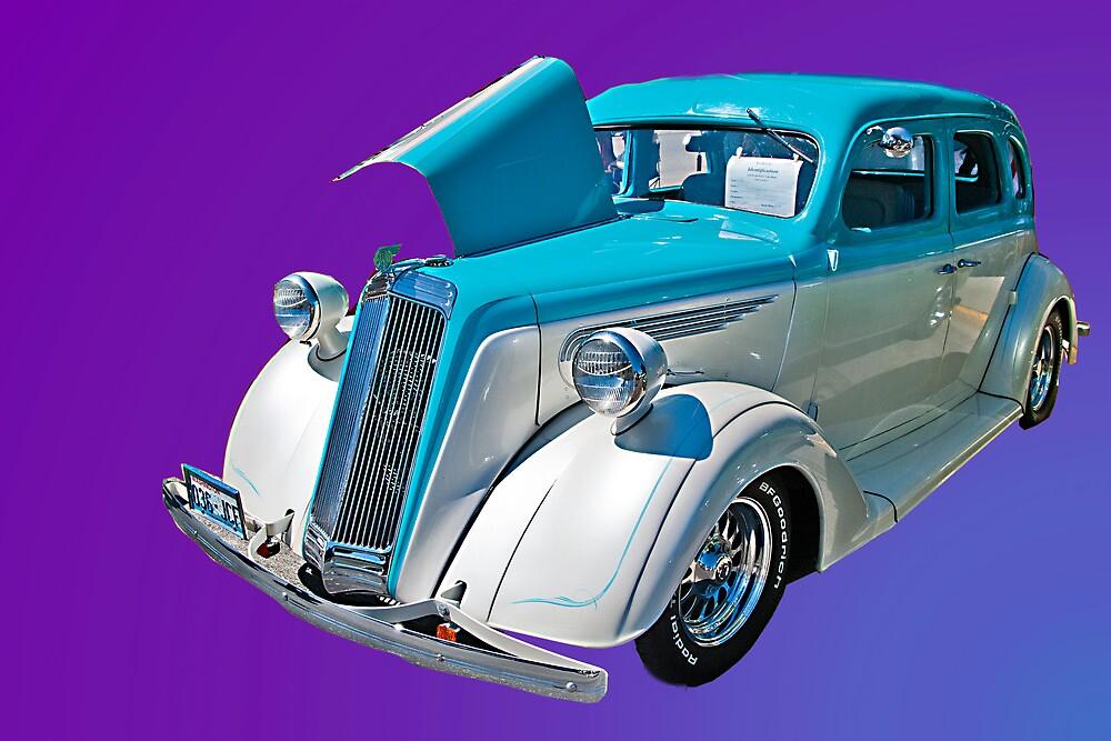 A blue and white 1936 Nash LaFayette--Live a Little, Drive a Rambler