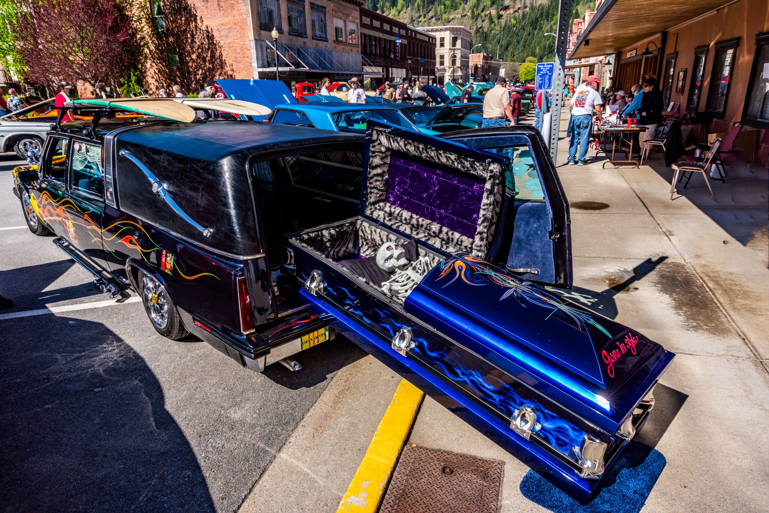 A highly customized hearse