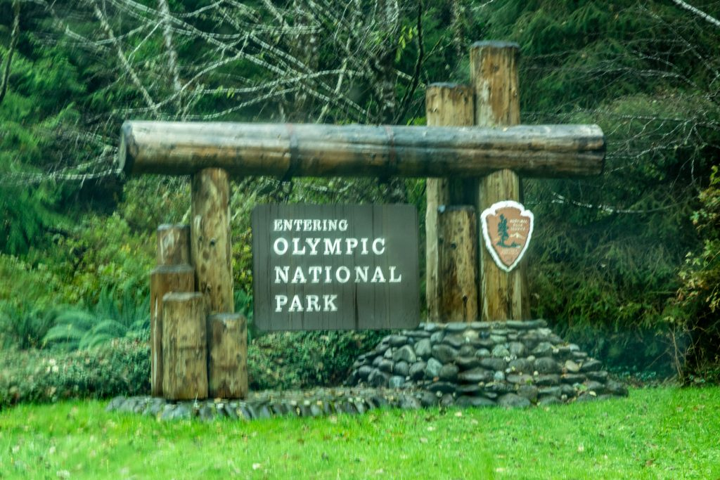 The Olympic National Park Sign near Queets, Washington