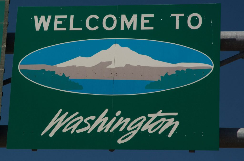 The highway sign welcoming us to Washington--we are on the road to Republic.