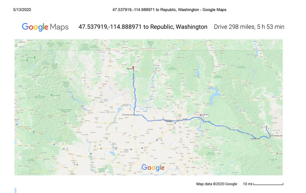 Map from Plains, Montana to Republic, Washington, 300 miles.  This is the road to Republic.