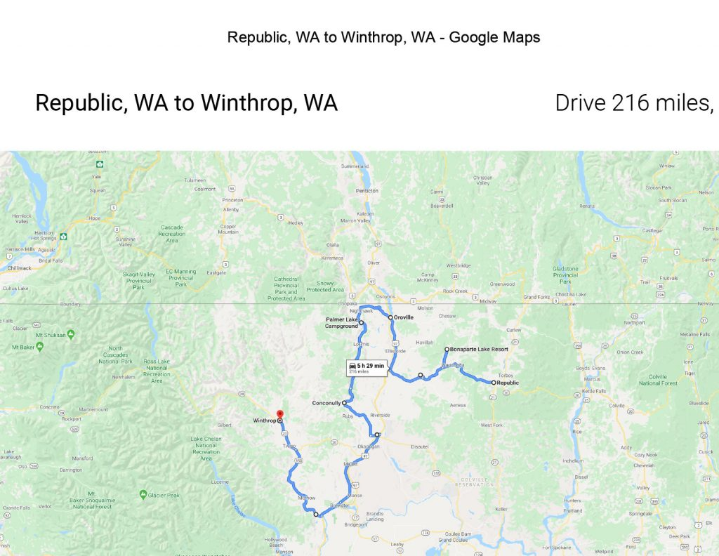 Map showing the first portion of the drive from Republic to Sedro Wooley through the North Cascades National Park.