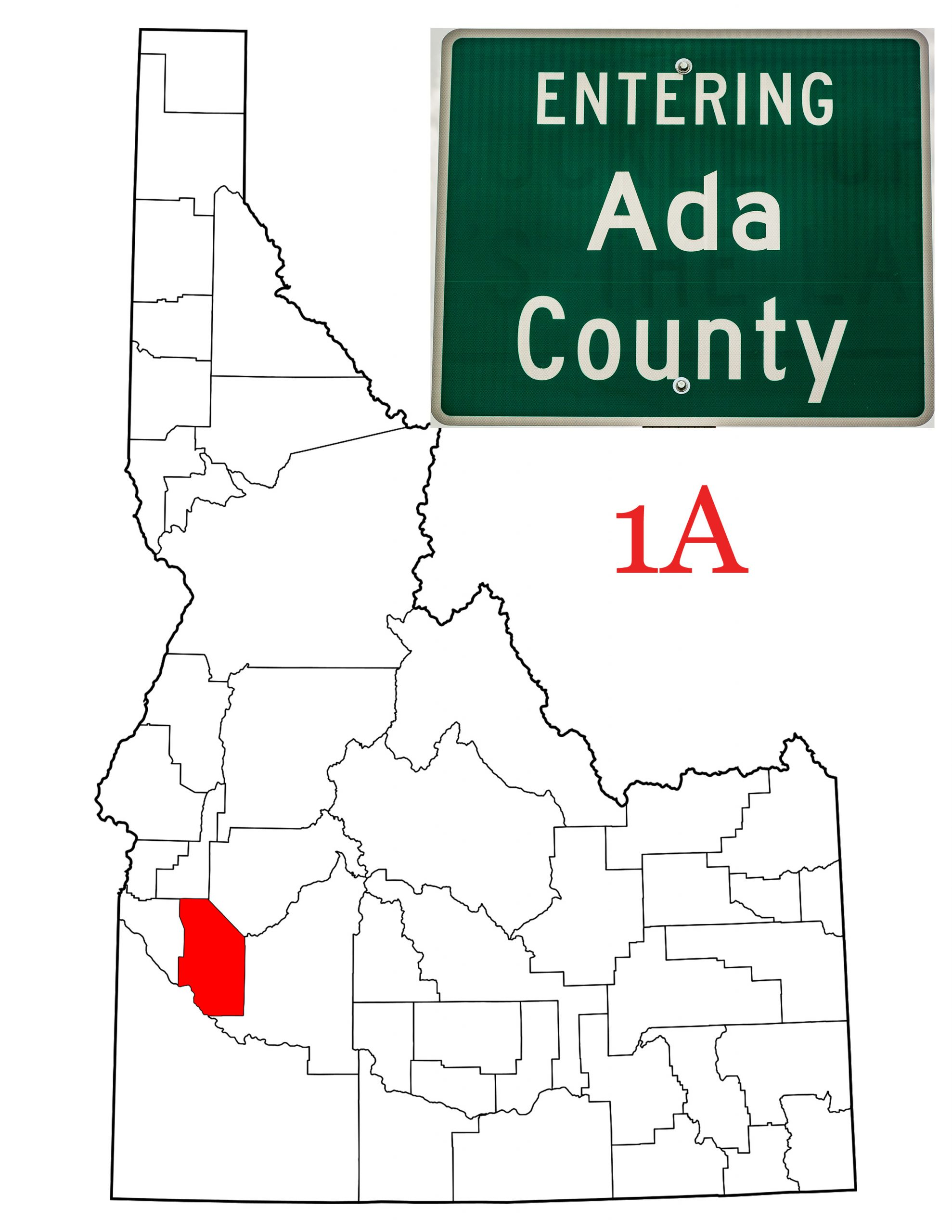 a map of the state of Idaho showing Ada County