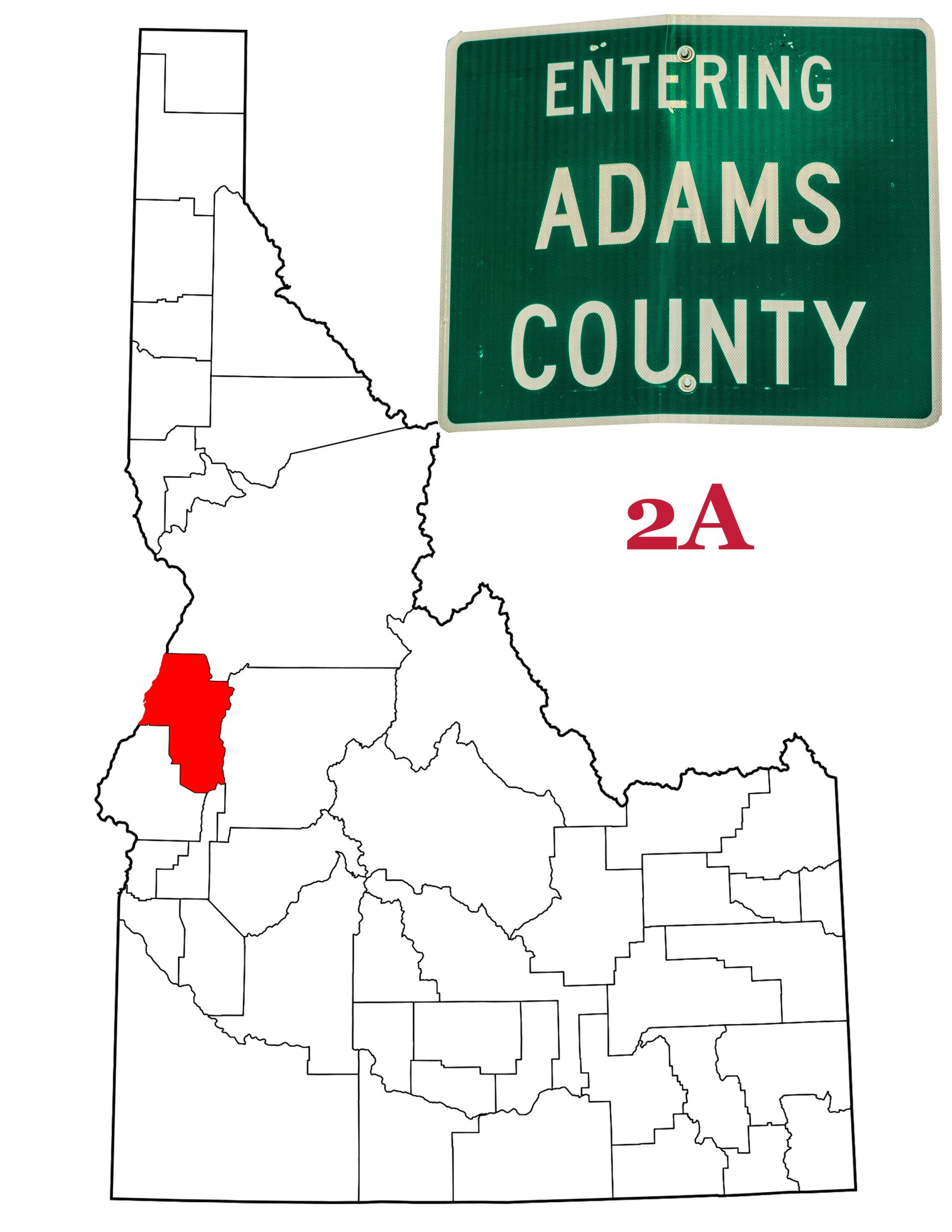 Adams County, Idaho location and sign