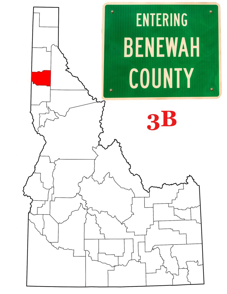 A map of Idaho highlighting Benewah County, with the Benewah County Sign.