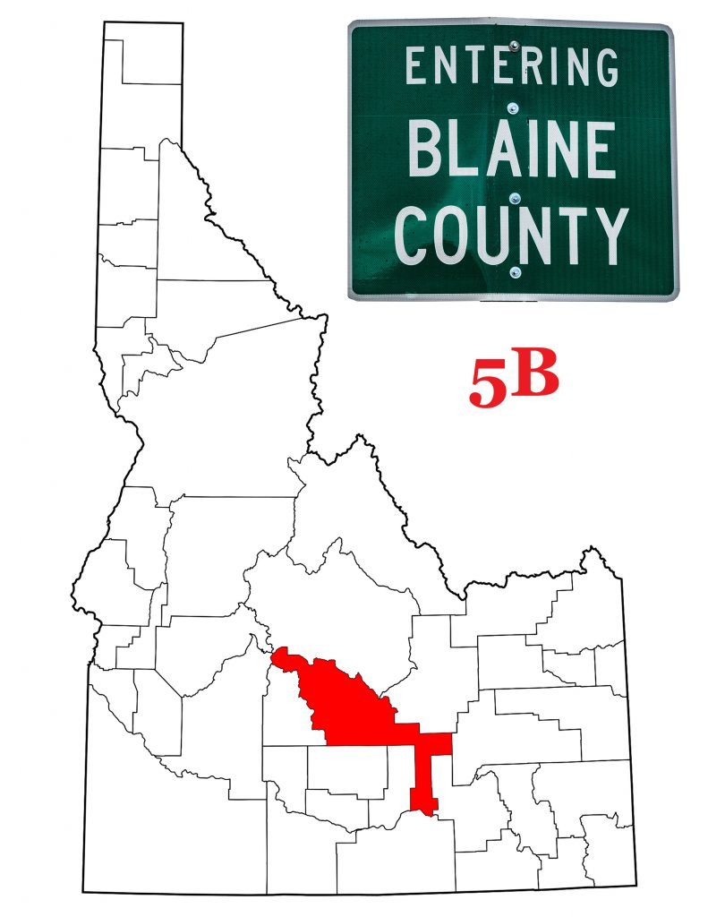 The Blaine County sign and a map of Idaho showing Blaine County in red.