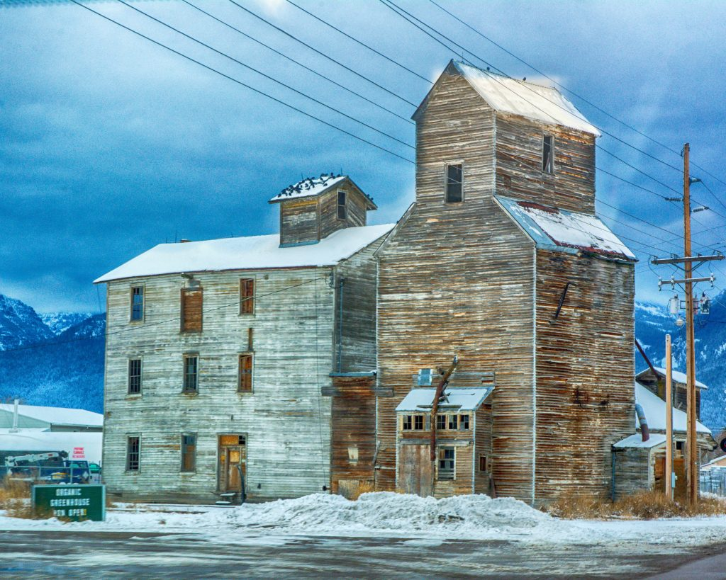The Lake Flour Mill Elevator in Ronan, Montana.  Taken the third week in December, 2017.  The link takes you to my RedBubble sales gallery.