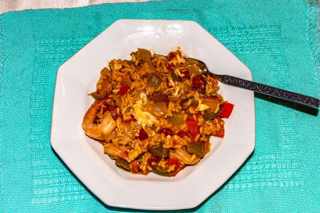 A bowl of home made Jambalaya