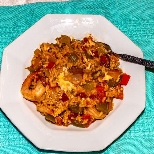 A bowl of home-made Jambalaya