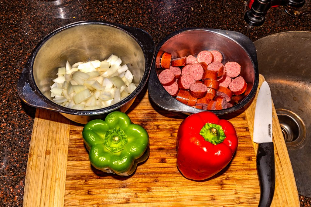 Sausage, onion and bell peppes being prepped for the Jambalaya.