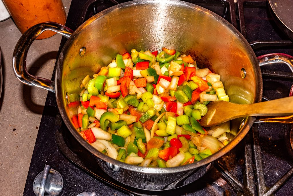 """Onion, bell pepper and celery """"sweating"""" in the stock pot for tonight's Jambalaya."""