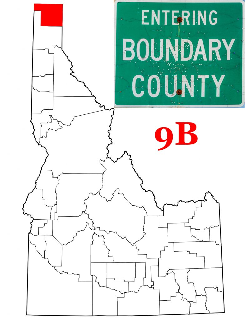 Boundary County Sign and map of Idaho showing Boundary County in Red.