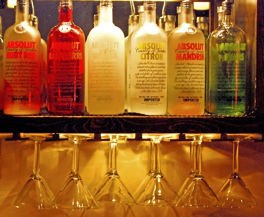 A row of Absolut Vodka bottles above a group of hanging martini glasses.  Link toakes you to my RedBubble sales gallery.  This was the last of my photography sales in 2012.