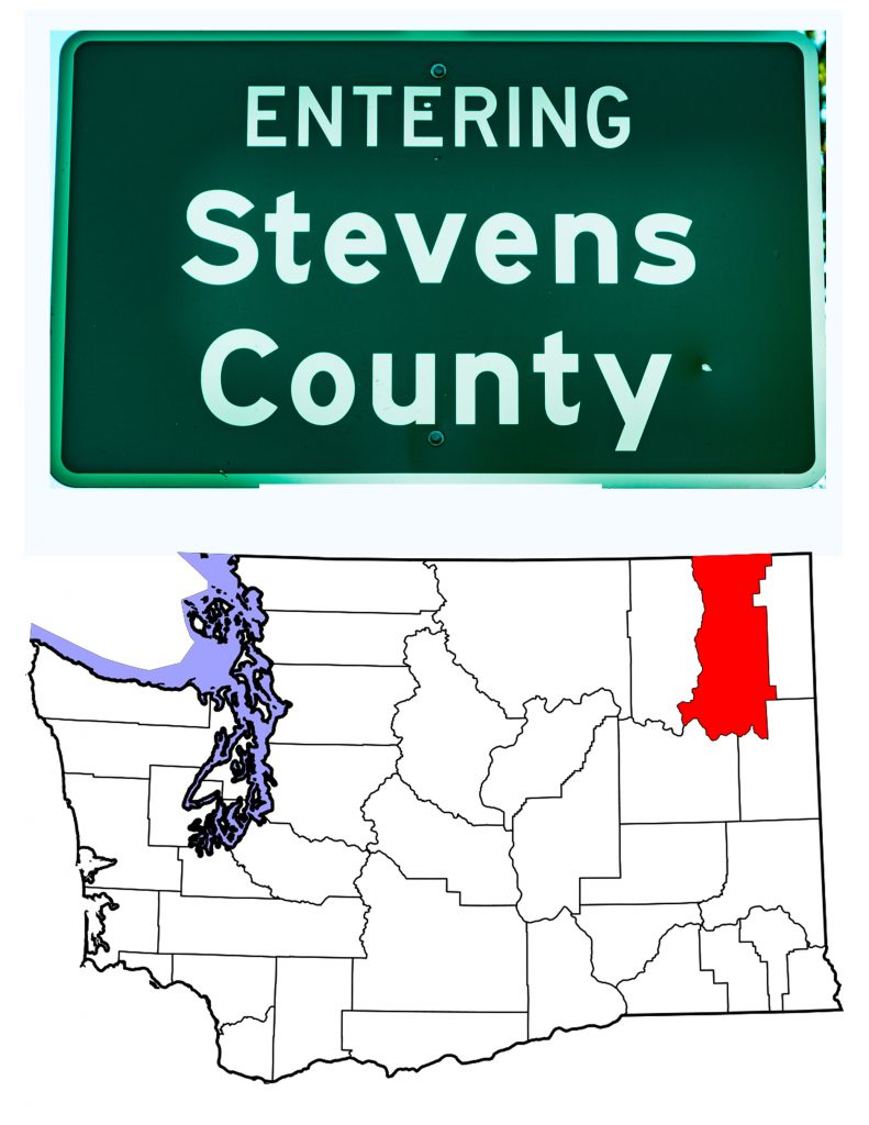 The Stevens County Washington sign and a map of Washington State showing Stevens County in red