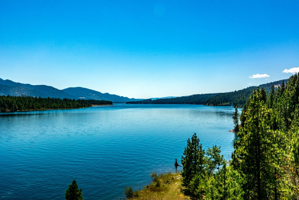 The Columbia River (Lake Roosevelt) Upstream from Kettle Falls.  Link takes you to my RedBubble sales site.