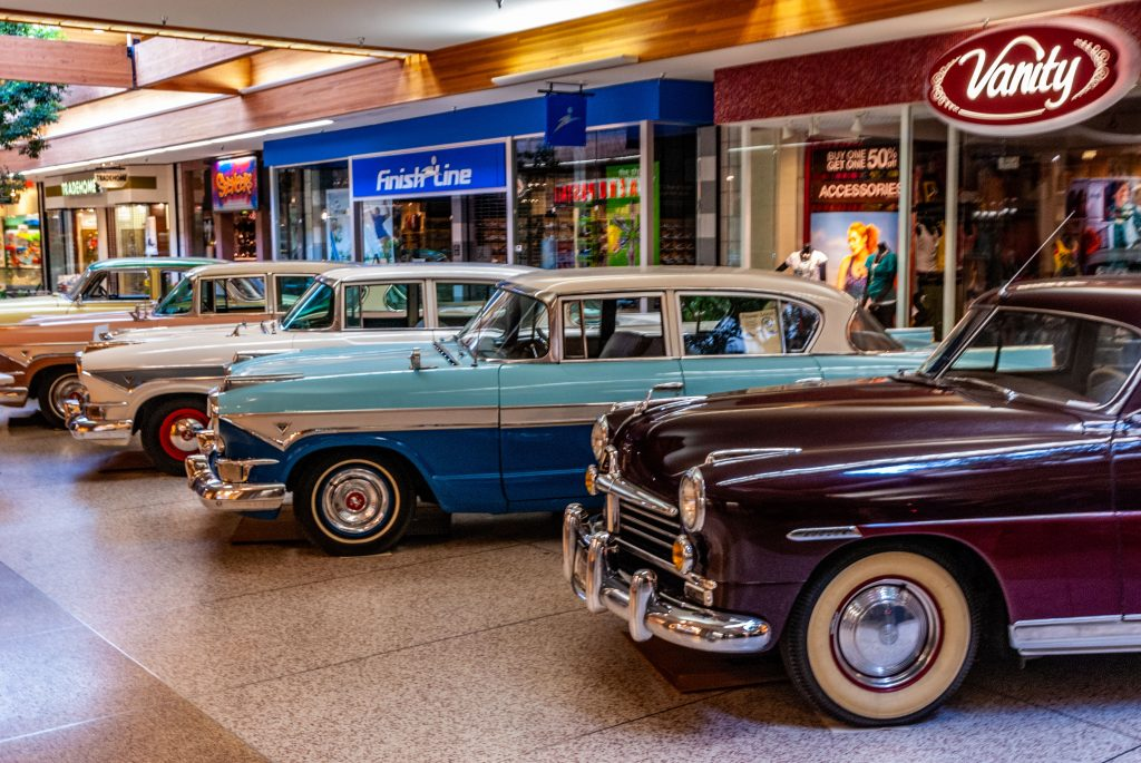 Five Hudson Motor Cars on display at Southgate Mall, Missoula, Montana.  Link takes you to my RedBubble sales gallery.