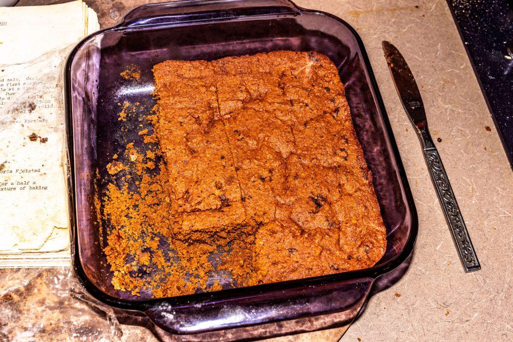 A pan of Keto Brownies (less than 2 grams carb per brownie) part of my week of cooking