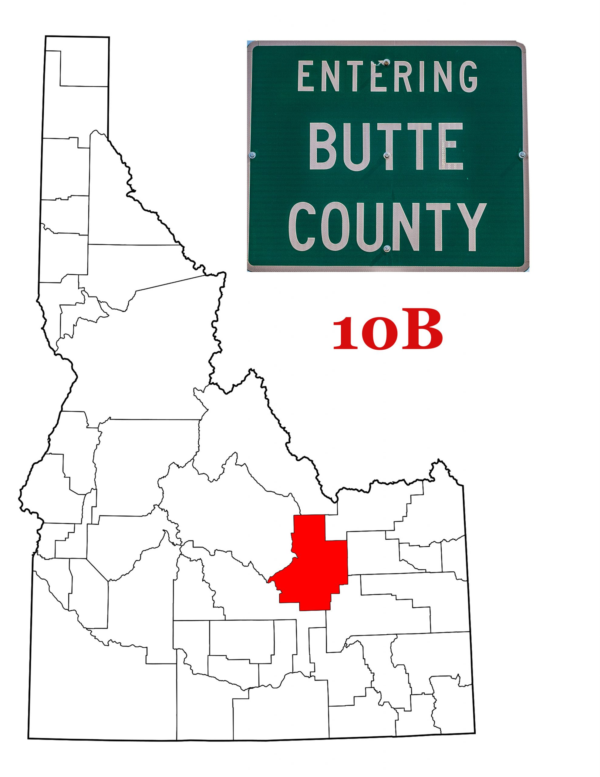 A map of Idaho showing Butte County in Red, along with the Butte County Sign.