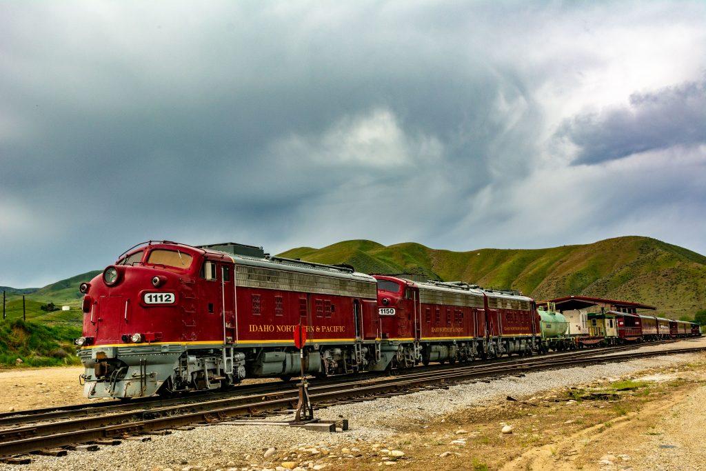 The Thunder Mountain Scenic Railroad on a siding in Horseshoe Bend, Idaho