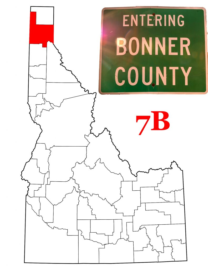 The Bonner County Sign and a map of Idaho showing Bonner County in red.