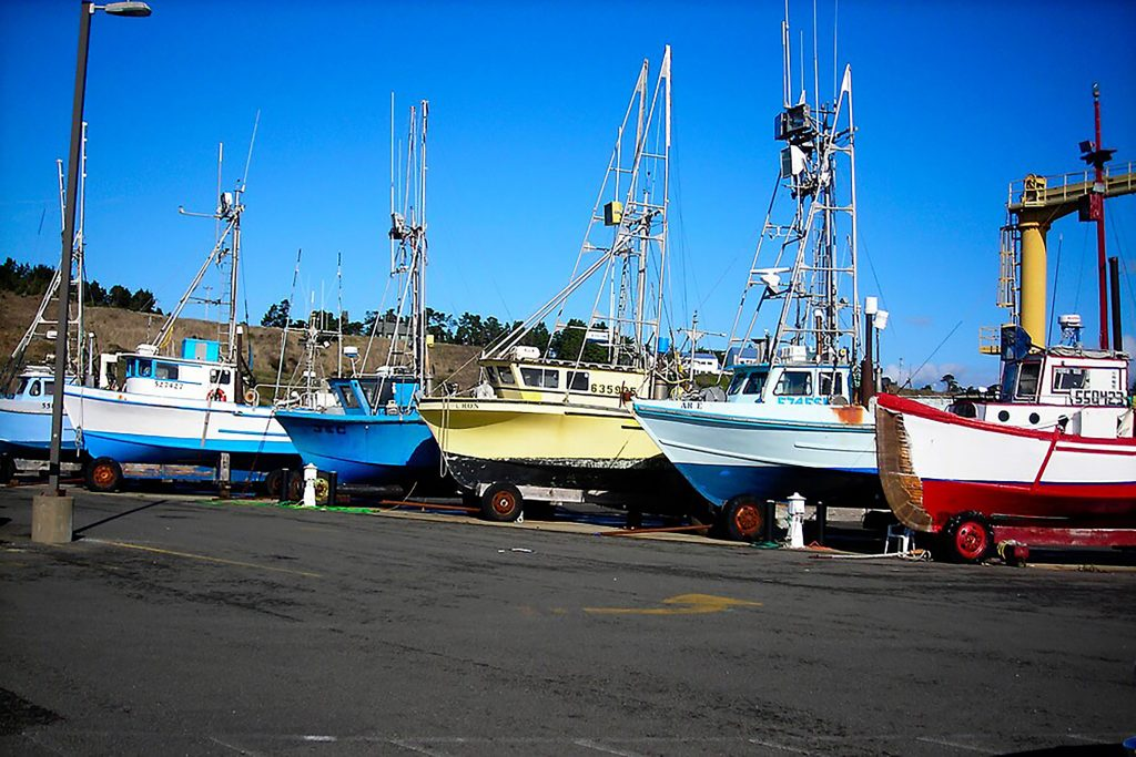 Fishing boats on the dry harbor at Port Orford, Oregon
