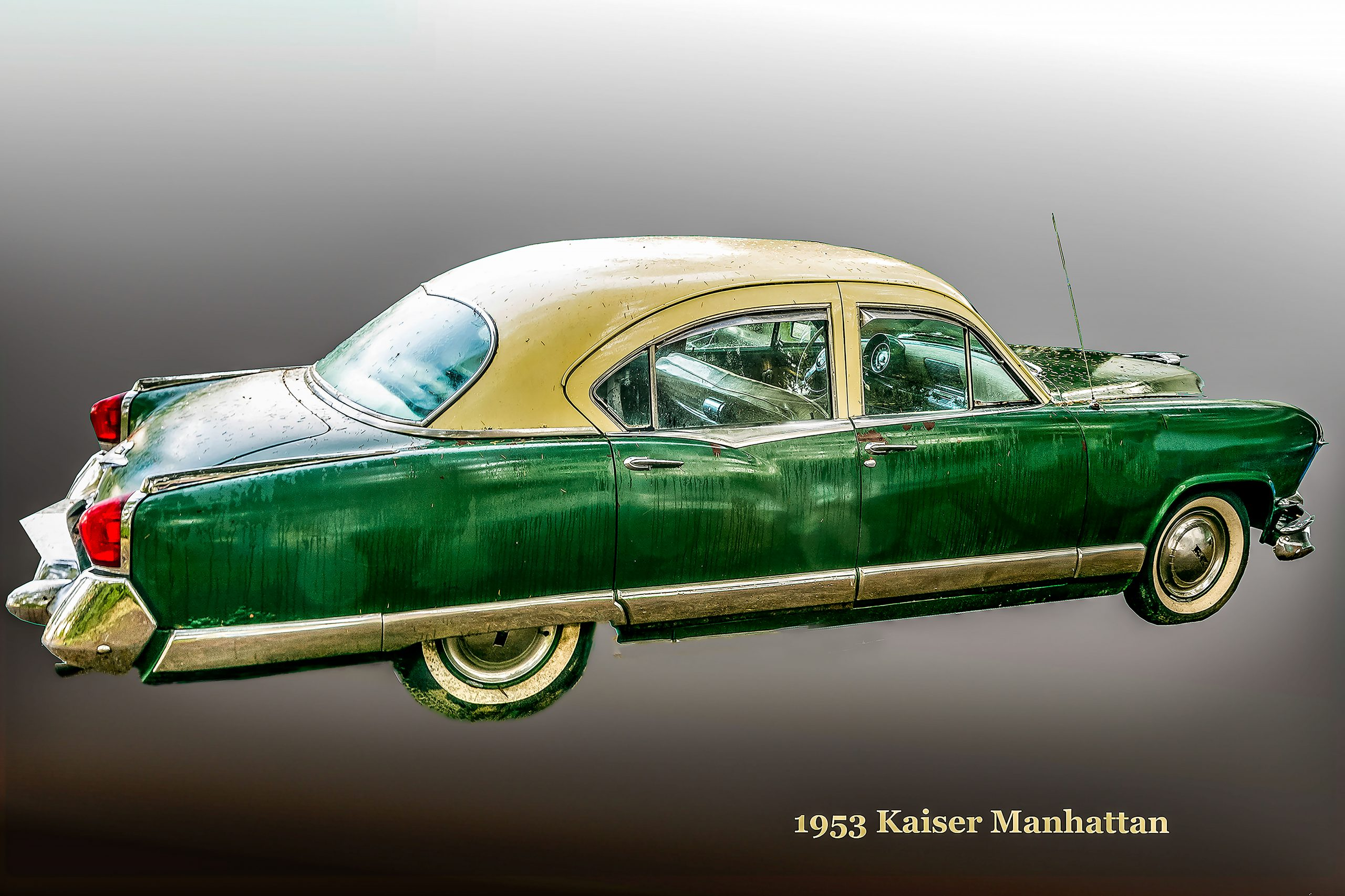 A 1953 Kaiser Manhattan in green and cream