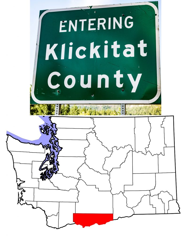 The county's sign and a map showing in red Klickitat County Washington