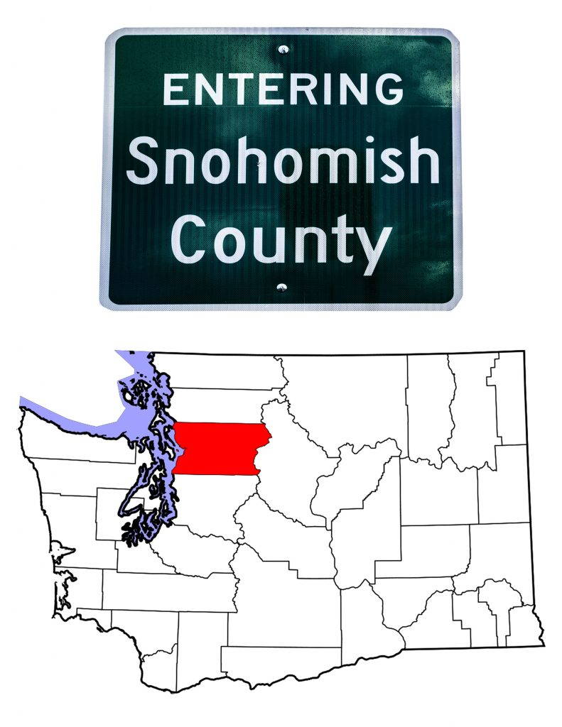 Snohomish County Sign and map of Washington showing Snohomish County in red.