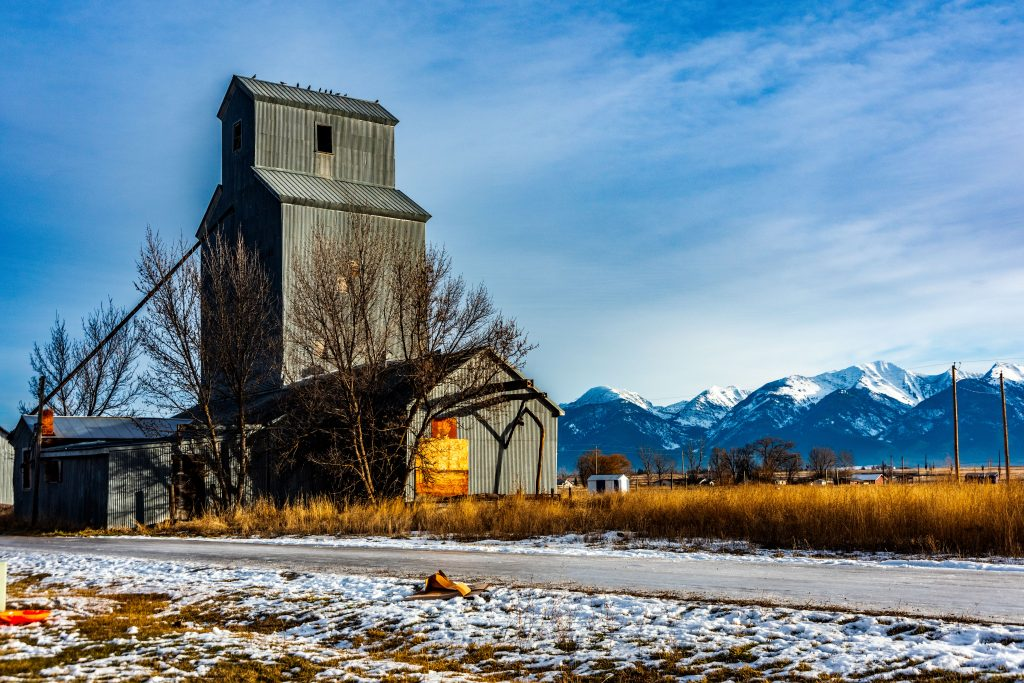 The Charlo Grain Elevator with the Mission Mountains in the background.  Link takes you to my RedBubble sales gallery.