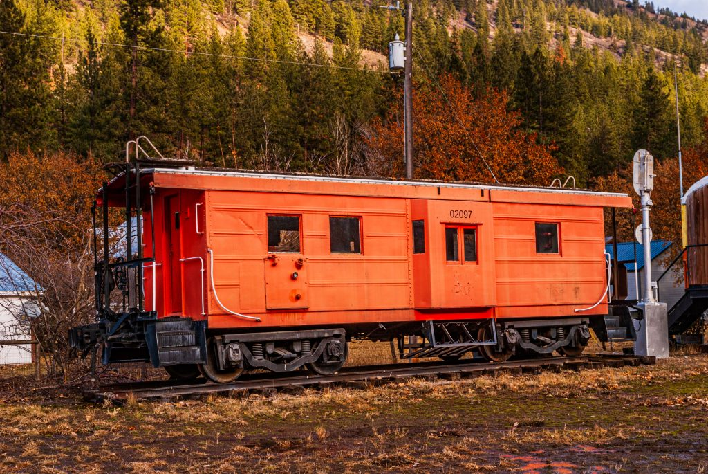 The Milwaukee Railroad Caboose on display in the city park, Alberton, Montana.  Link takes you to my RedBubble sales gallery.
